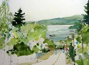 view from Thistle Street SW in West Seattle; watercolor sketch by Susan K. Miller