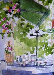 view from Caffe Umbria, Seattle; watercolor sketch by Susan K. Miller