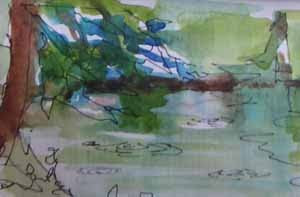 Schmitz Preserve Park, a watercolor sketch by Susan K. Miller