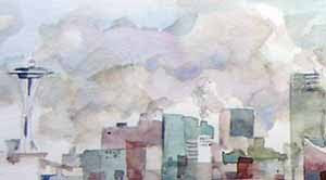 Downtown Seattle in September Fog, a watercolor sketch by Susan K. Miller