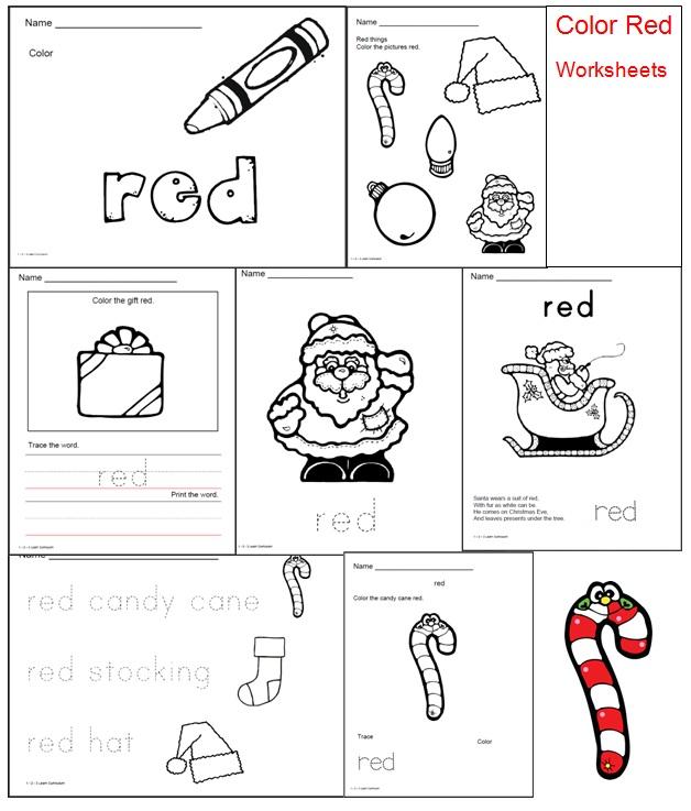 Preschool color red worksheets