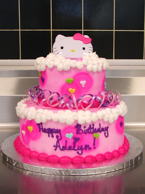I made this cake for my friend's little girl. She wanted a Hello Kitty cake