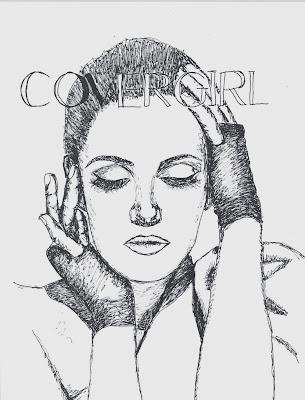 fashion illustration of Drew Barrymore by Liz Blair