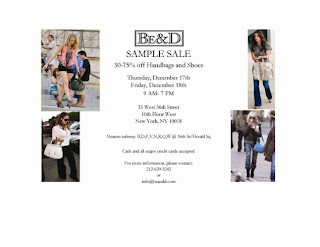 Newsflash: Be & D Sample Sale This Thursday & Friday @ NYC