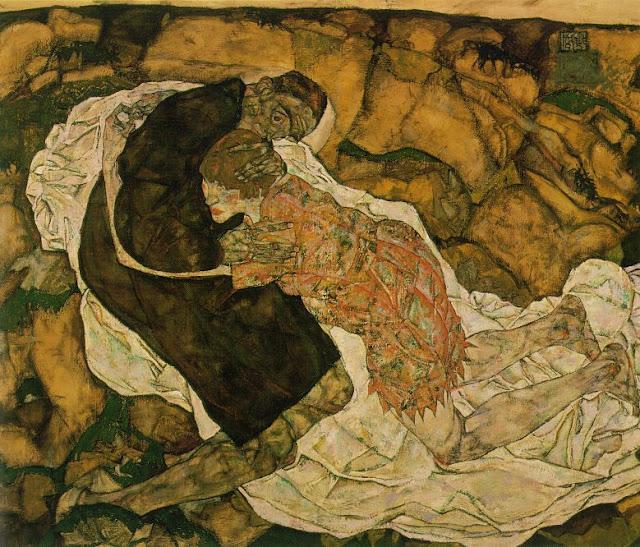 смерть и девушка, эгон шиле, картина, ужасы