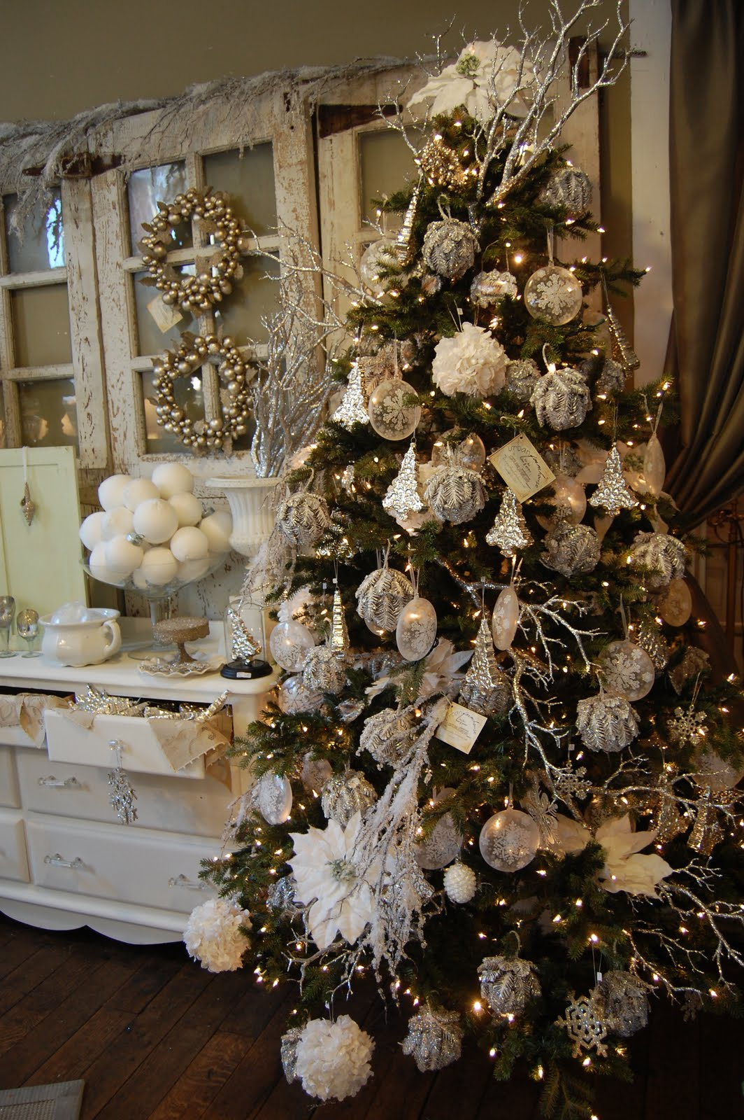 Urban farmhouse just some of the photos from our for White and gold tree decorations