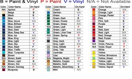 Endless possibilities our color chart of paint and vinyl for Vinyl lettering colors