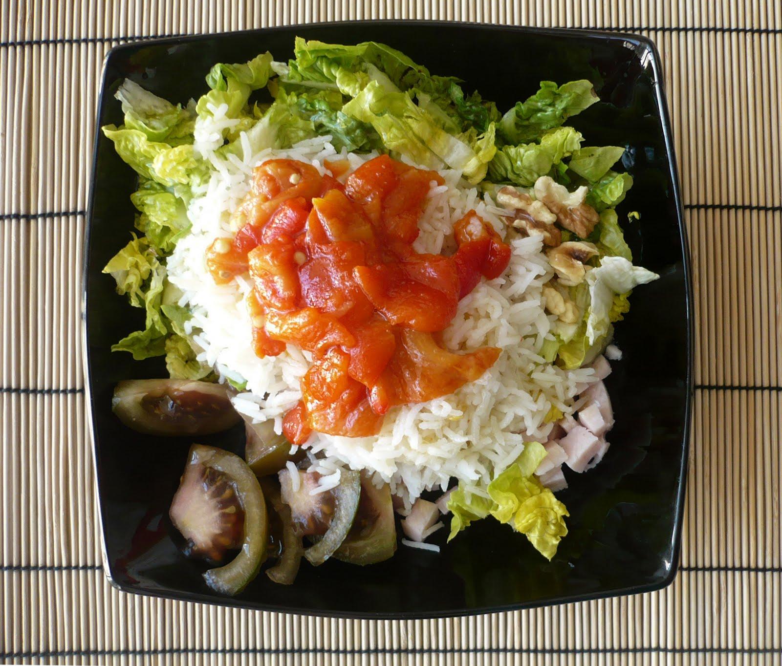 Cocinerando ensalada de arroz con pimientos asados - Ensalada de arroz light ...