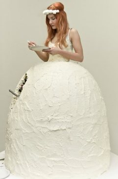 vestido de noiva de bolo de casamento