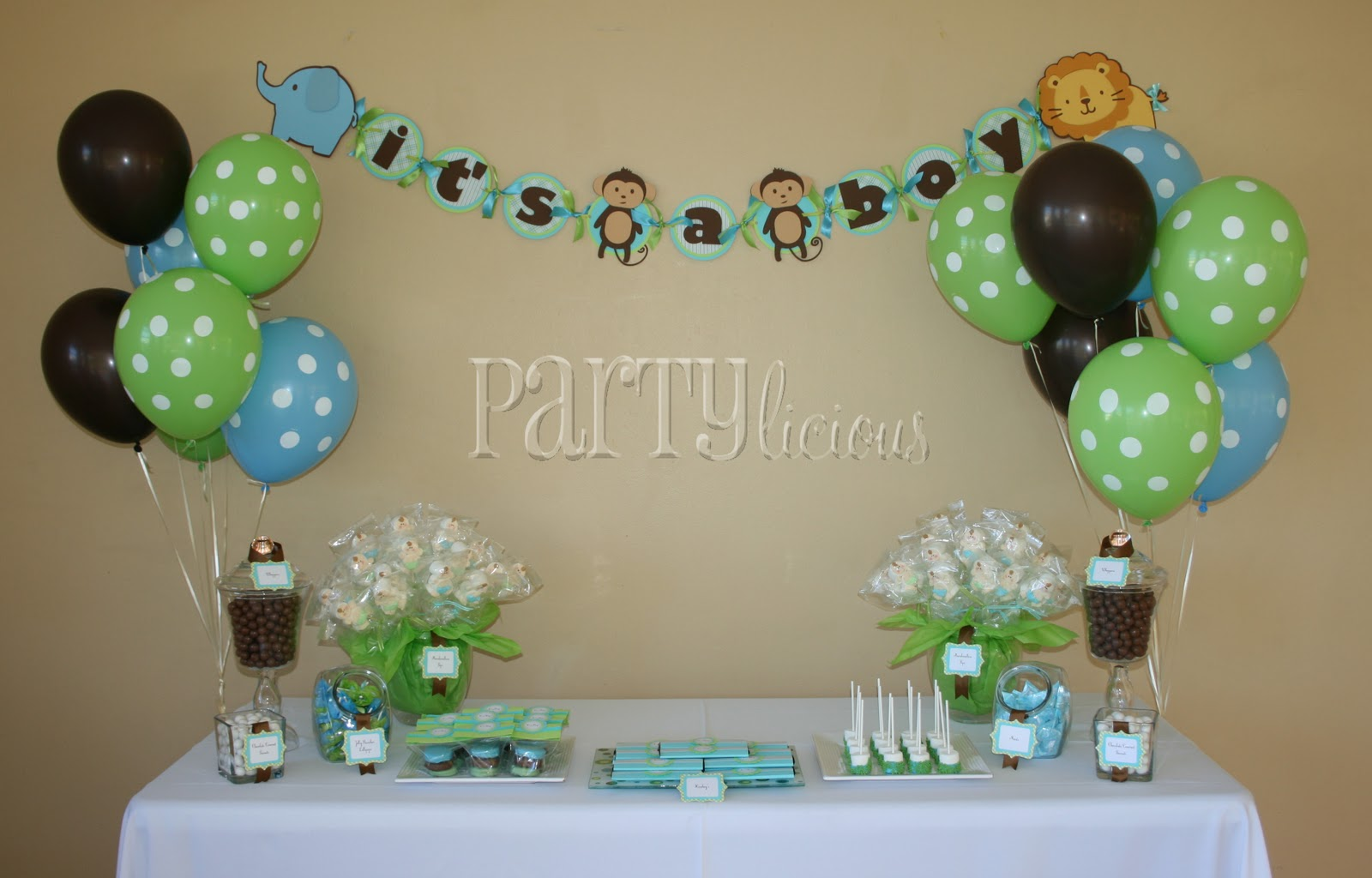 Safari baby shower table decor photograph partylicious an for Baby shower decoration pics
