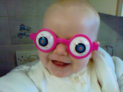 Big Cousin as a Baby wearing crazy eye glasses
