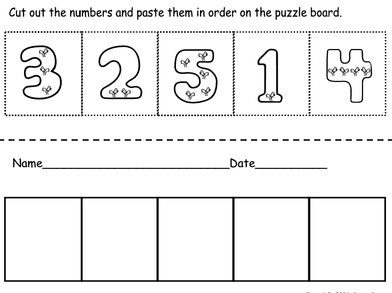 Cut And Paste Number Worksheets - Rringband