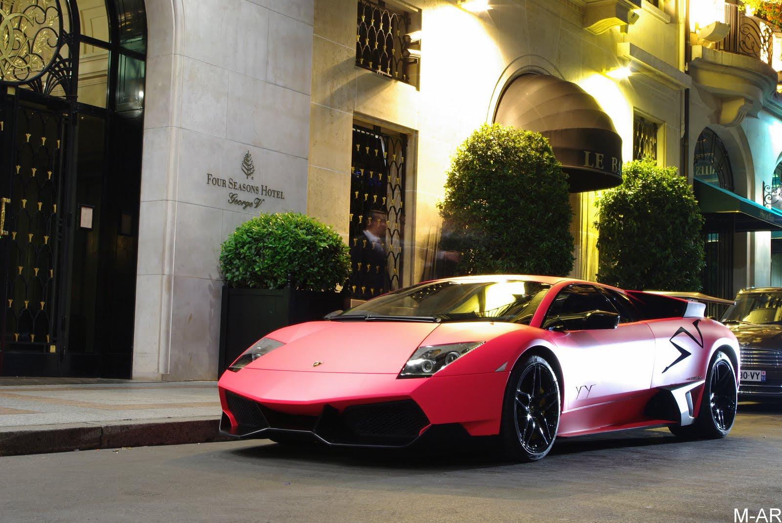 Matte pink Lamborghini