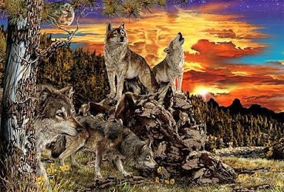 Hidden Wolves in mountain illusion
