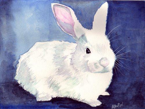White rabbit painting - photo#1