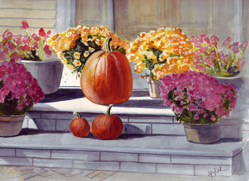 Bunny 39 s artwork fall and pumpkins and flowers watercolor Flower painted pumpkins