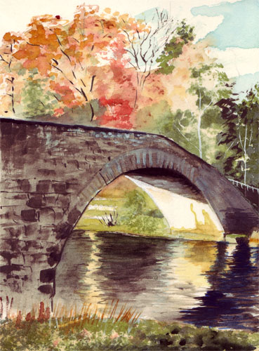 Cumbrian bridge watercolor painting is from a wet canvas weekend