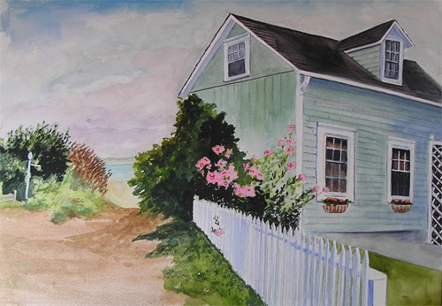 Bunny 39 s artwork cottage by the sea watercolor painting for Block island cottage