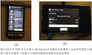 OESF-Market place於2010/9展示的示範應用 (a)智慧型手機的樣態 (b)手機與伺服器間相連的商店應用
