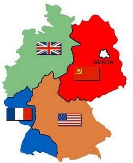 División territorial de Alemania entre los 4 países vencedores de la II Guerra Mundial