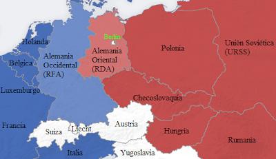 División de Europa entre las naciones de la OTAN (zona capitalista) y las naciones del Pacto de Varsovia (Zona comunista o Bloque del Este)