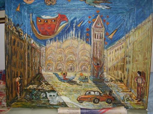 venezia ricordi  olio con cornice invasa