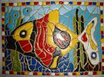 """Fiz esse """"quadro"""" com papelão numa técnica de falso mosaico."""