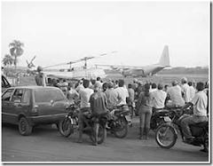 la llegad de los helicópteros conocidos como diablos rojos