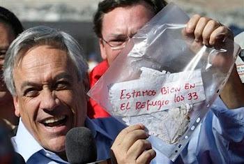 sin ocultar su alegría el presidente chileno Piñera