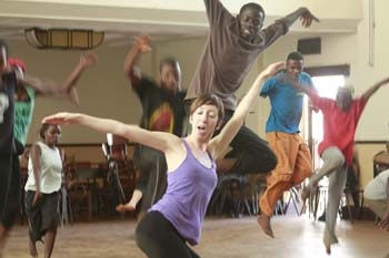 Robin and Ugandan Dancers