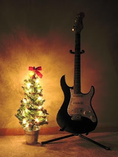 Christmas Guitar Decoration Wallpaper