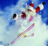 santa skiing wallpaper