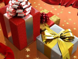 christmas ribbon covered gift