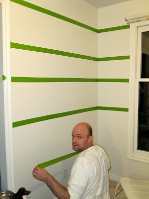 how to tape paint strips on wall