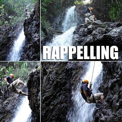 Rappelling down Digisit Falls