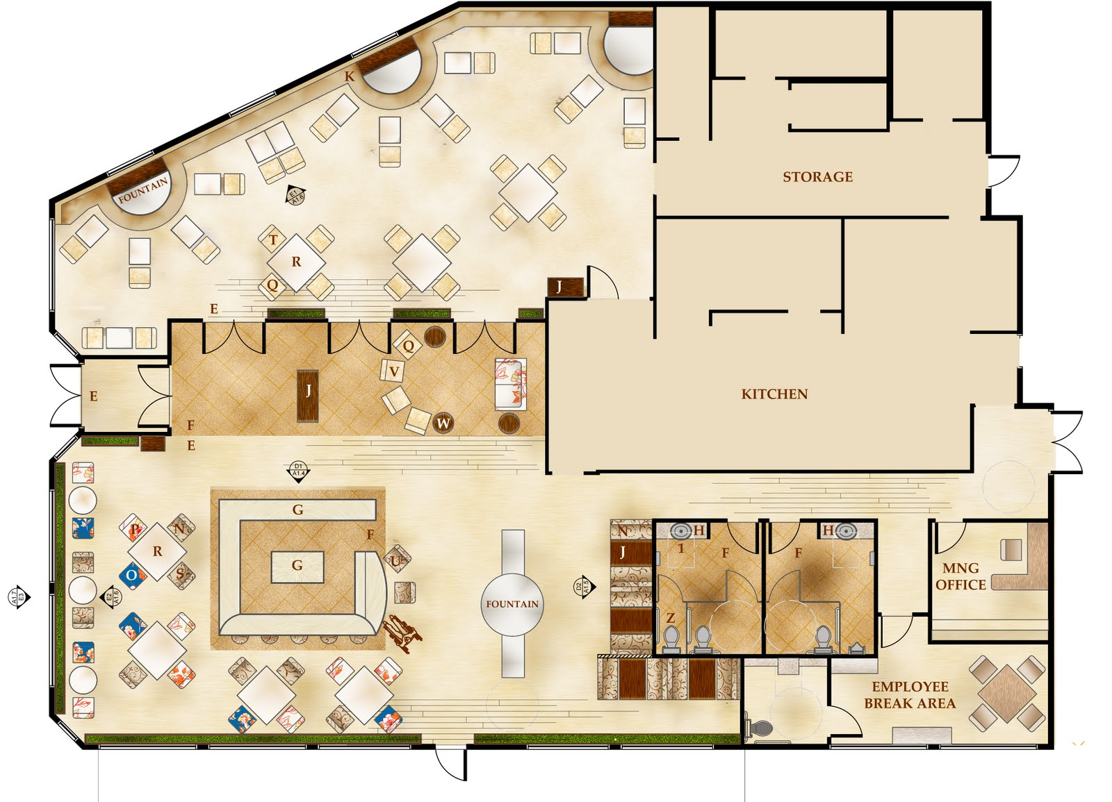 Rendered floor plans home plans home design Rest house plan