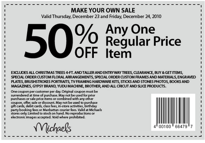here are some holiday printable coupons for michaels and they are having cartridges on sale on sunday for 1999 additional 15 off on sunday as well - Michaels Framing Coupon