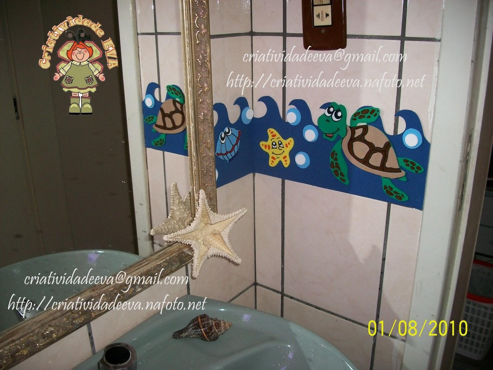 CRIATIVIDADE EVA Decoração Banheiro  Fundo do Mar -> Decoracao Para Banheiro De Escola Em Eva