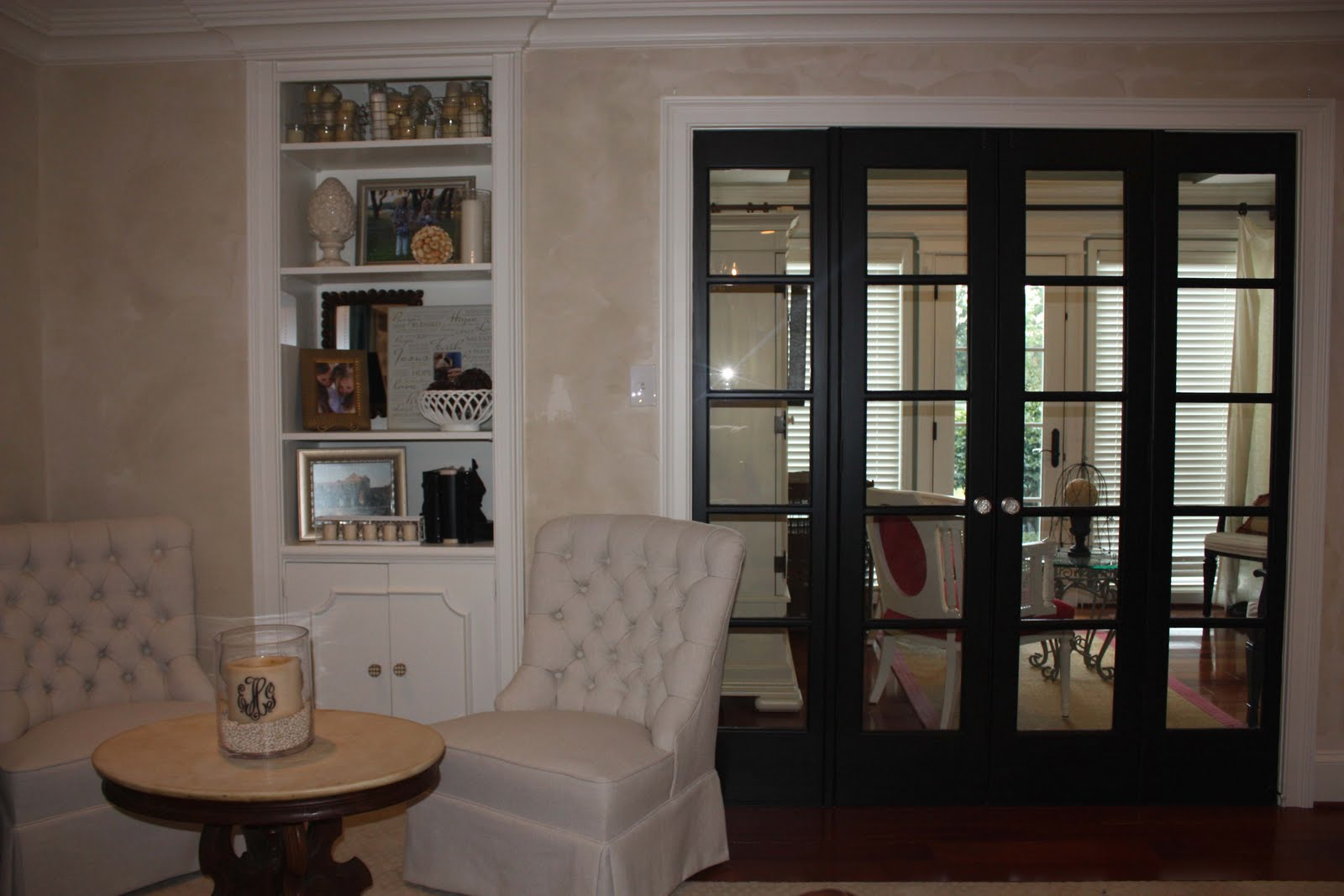 Black french doors and linen chairs on a friday playing for Bedroom french doors
