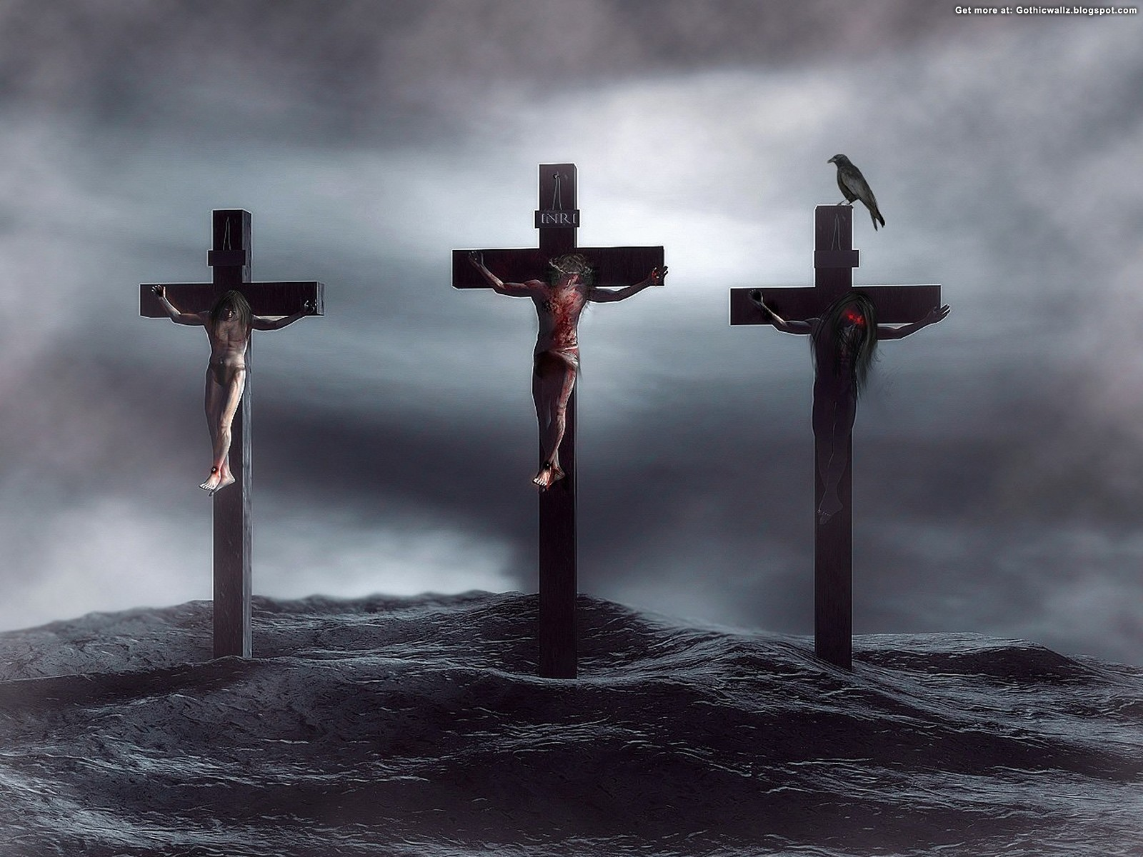 Three Crosses | Gothic Wallpaper Download