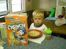 Hudson eating breakfast at Grandmas!