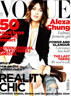 Alexa Chung Sexy in Denim Shirt in Vogue