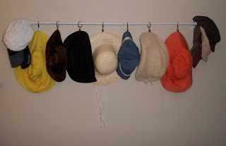 idea bottle hats and my homemade hat rack