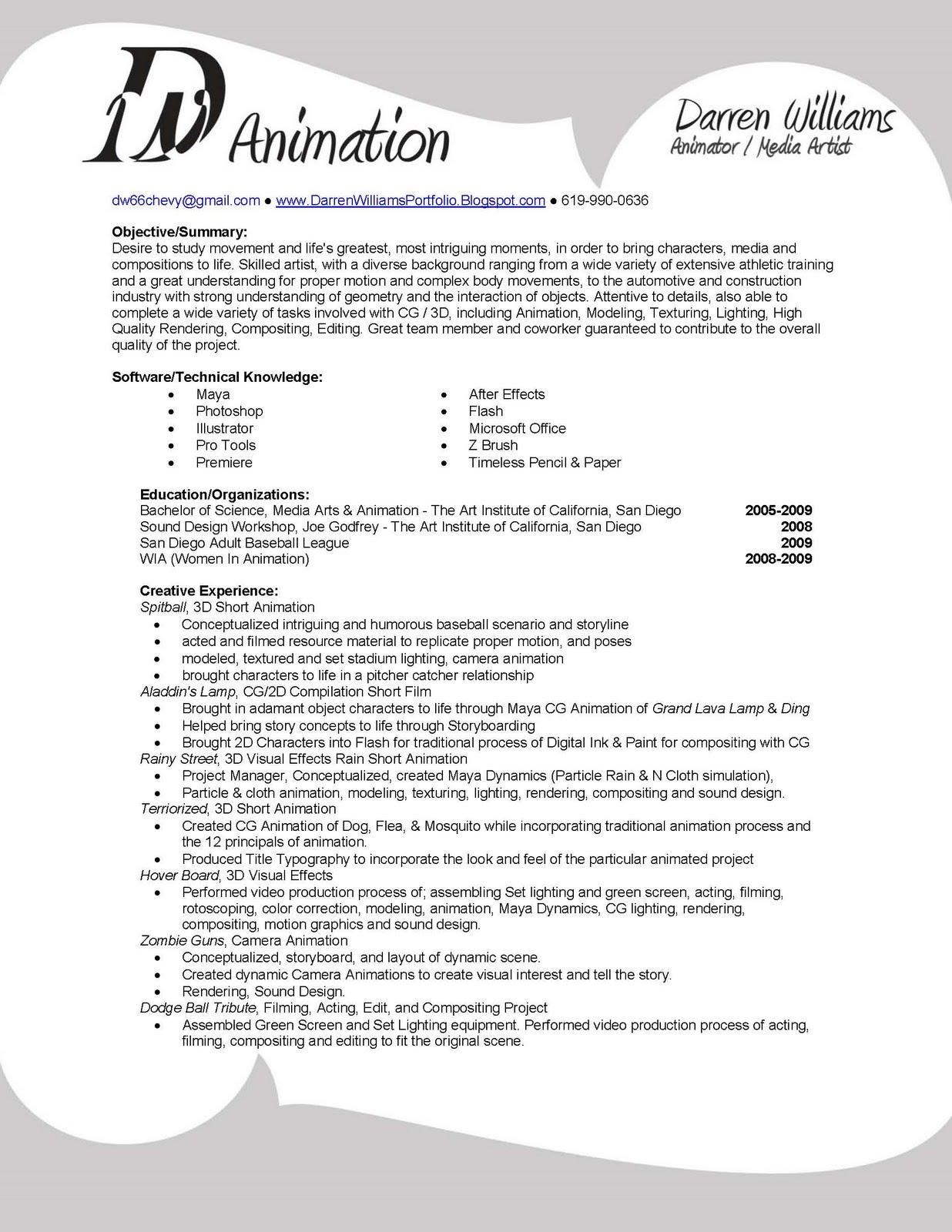 darren williams current resume
