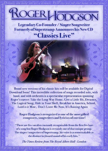 Roger Hodgson - Classics Live Advance Release