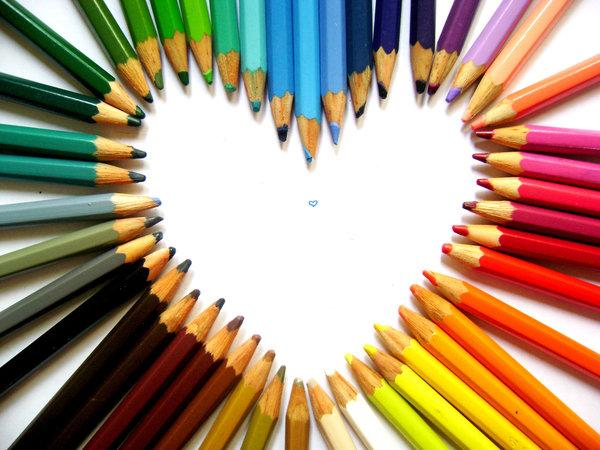 Colorful Heart Of Pencils Background Wallpapers By Xerovero Here You Can See