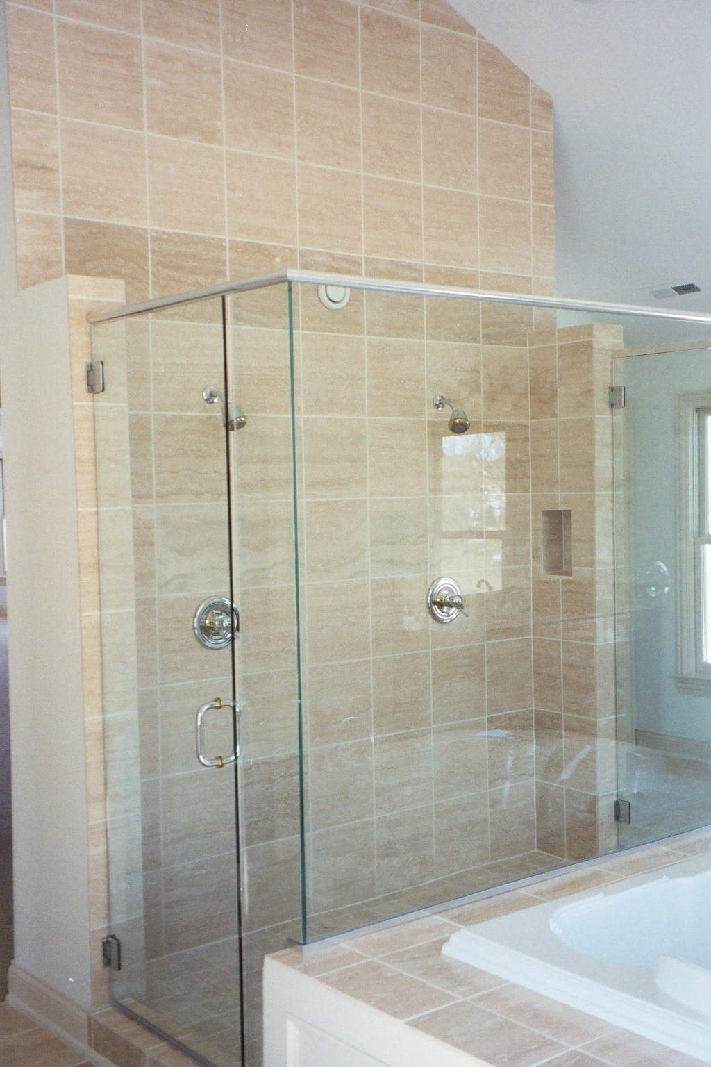 Backsplash picture ideas custom shower and tub deck stone for Custom tubs and showers