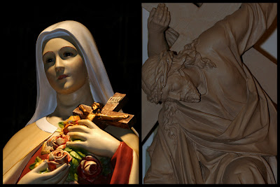 Picture of St. Theresa and Close up of one of the Stations of the Cross