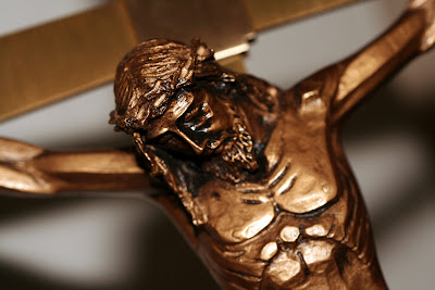 Close-up of the head of Jesus crucified on the cross
