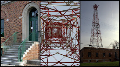 Three picture collage of radio trasmission tower and building